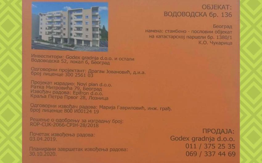 Vodovodska 136 - tabla - Novogradnja Beograd Bele Vode